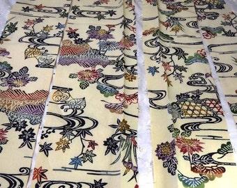 Vintage kimono fabric village scene