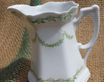 Dainty little White Creamer trimmed in Green - no marks on bottom