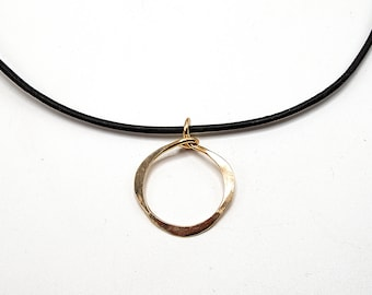 Gold Circle Necklace, Circle Pendant Necklace, Cord Necklace, Minimalist Necklace, Handmade Leather Necklace, Leather Necklace for women