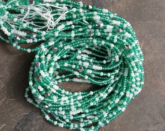 Two-colors waist beads with crystals, stranded on cotton thread, 42/44 inches, 4 different mix of colors