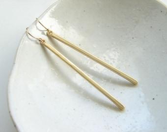 Matte Gold Slim Bar Earrings. Minimalist Jewelry. Dangle Earrings. Simple Modern Jewelry by PetitBlue
