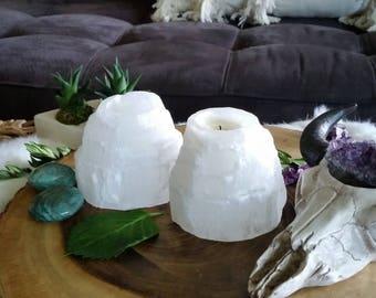 Selenite candle holder, crystal candle holder, large selenite,