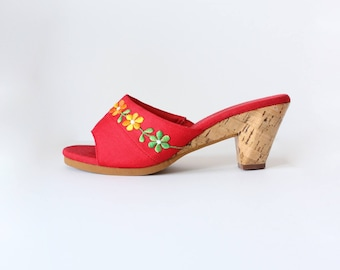 1970s Shoes / Vintage Montgomery Ward Embroidered Red Canvas Slide Heels, size 6