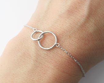 Bracelet two circles intertwined rings you and me Silver 925/1000