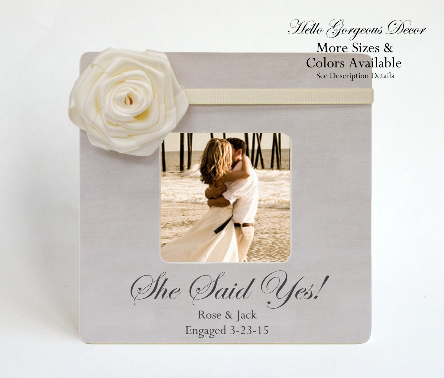 Engagement Gift to Couple Picture Frame Personalized SHE SAID