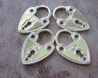 4 Silver-Plated Pewter Charms, 21x15mm Lock - JD107