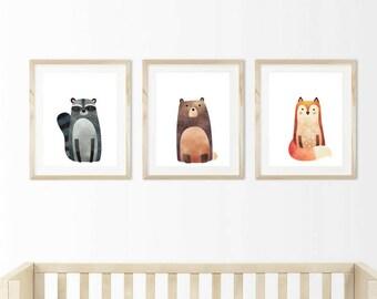 Set Of 3 Woodland Nursery Prints