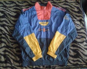 ADIDAS windbreaker, vintage full zip hip hop jacket of 90s hip-hop clothing, 1990s gangsta rap, old school nylon jacket, size L Large