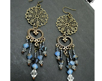 CLEARANCE SALE 40% OFF - Charming Oriental Copper and Blue Earrings
