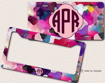 Festive Colours, Colourful, Bright Camouflage, Cute Car Tag, Bike Tag, License Plate, License Plate Frame - monogrammed license plate, 63