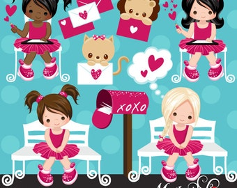 Valentine Clipart with cute valentine characters, valentine baby animals, letters and love mailbox graphics!  Love Letters Valentine's Day
