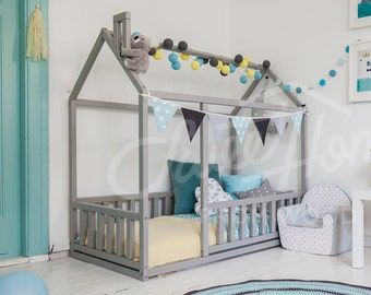 Frame bed, Children bed, Play tent, House bed, Toddler bed, Floor bed, Baby room nursery crib Home bed baby bed Teepee montessori toy SLATS