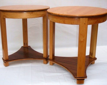 Side Tables in Cherry and Walnut (Pair)