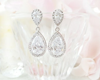 Long CZ Teardrop Earrings, Cubic Zirconia Studs, Silver Bridal Earrings, Be My Bridesmaid Gift, Maid of Honor, Anniversary For Her, E2009