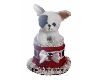 Puppy Dog Mini Diaper Cake, Baby Shower Gift & Centerpiece
