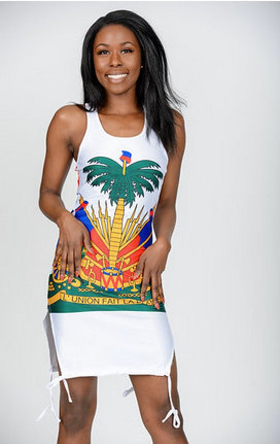 Haitian Flag Shirt Dress  White