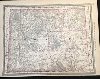 Antique Map of Wyoming, Original 1888 Map by Rand McNally, Vintage Map for Framing