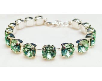 Spring Green + Silver, Handmade Swarovski Crystal Bracelet, Silver Bracelet, Green Bracelet, Light Green Bracelet, Bridesmaid Jewelry
