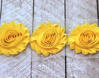 1/2 Yard Shabby Chiffon Flower Trim in Yellow - Flower Trim for Headbands and DIY supplies