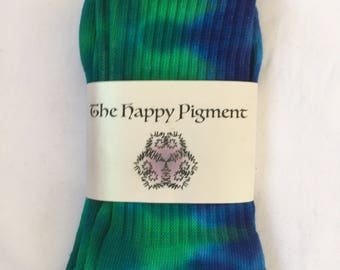 Blue and green tie dyed socks