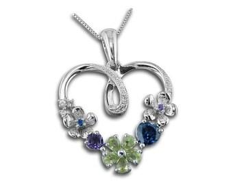 925 Sterling Silver Heart Sapphire Peridot Amethyst Gemstone Pendant Necklace