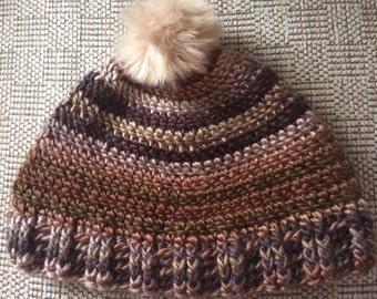 Pom Pom Crochet Adult Hat, Striped Hat, Boutique Hat, Ski Hat, Winter Hat, Adult Winter Hat, Multi Colored Hat, Adult Hats, Faux Fur Pom pom