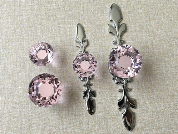 Pink Crystal Knob Rhinestone Dresser Knobs Glass Drawer Knob Pulls ...