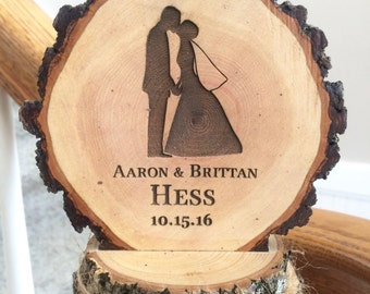 Rustic Wedding Cake Topper, Bride and Groom Topper, Custom Cake Topper, Wood Cake Topper, Barn Wedding, Personalized Topper