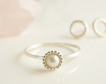 Romantic freshwater pearl ring. Stacking ring. Stack ring. Skinny rings. Hammered rings.
