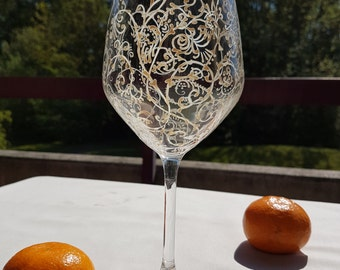 Wine glass, hand painted, vintage white