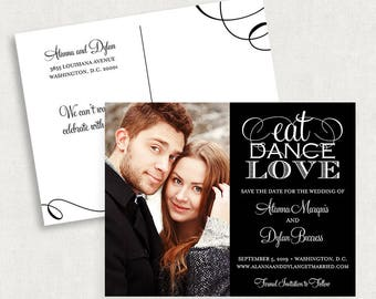 Black and White Save the Date Postcards, Eat Dance Love Save the Date Postcards, Save the Date Postcards, Calligraphy Save the Date Postcard