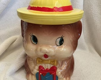 Bear Cookie Jar with Yellow Hat and Present Japan Mid-century