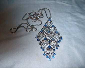 Blue Stone Necklace w/ Snake Chain & Blue Rhinestones, Costume Jewelry