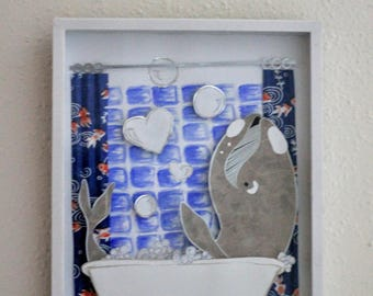 Whale of a Bath, Framed Paper Art