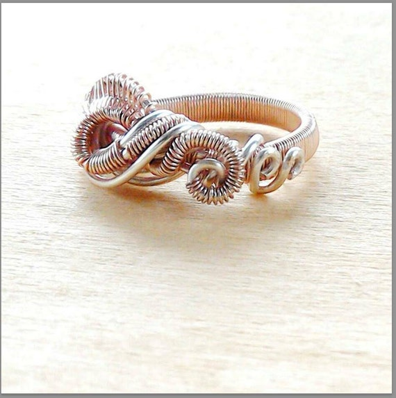Rose Gold Wedding Band Love Knot Design Alternative Wedding