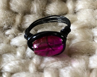 Purple wire wrapped ring sz 6