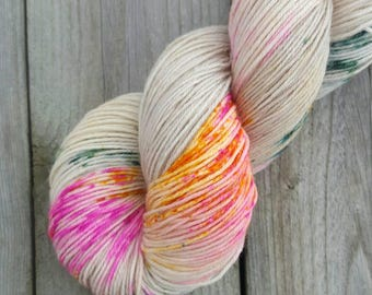 DYED TO ORDER: Hand Dyed Neon Speckled Sock Yarn ~ Huntress ~ Sockcess 2ply, 4ply, 3ply bases