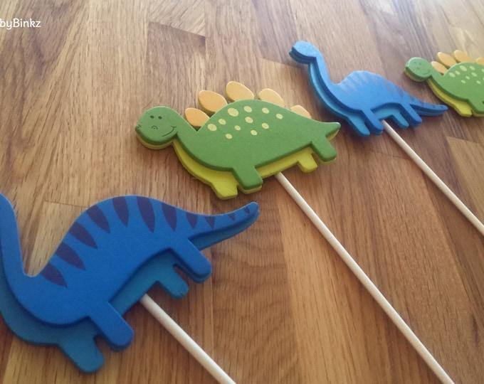 Dinosaur Shape Cake Toppers or Party Decorations blue brontosaurus dino green stegosaurus dino