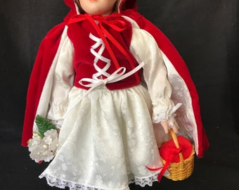 """12"""" Porcelain Red Riding Hood Storybook Doll"""