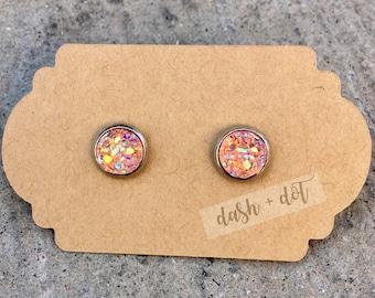 8mm Peach Druzy Earring / Surgical Steel Earrings / Faux Druzy Earrings / Stud Earrings / Rose Gold Earrings / Childrens Earrings
