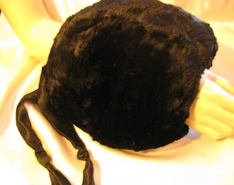 Vintage 1940s 50s Soft Black Fur Muff with Satin Lining & Cord, Small