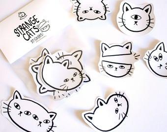Strange Cat Stickers! Set of 6