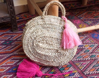 round straw basket, oval moroccan basket,round panier,summer tote,french basket,basket bag,straw beach bag,shopping basket,natural basket