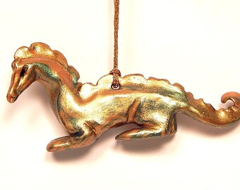 Dragon Christmas Ornament, Marbled Green and Gold, Hand-Sculpted Polymer Clay