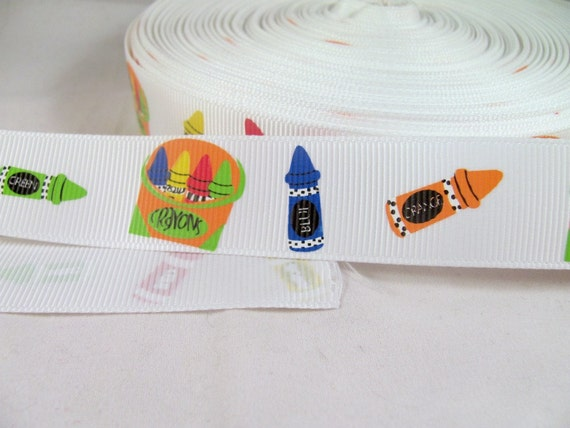 """Crayons Back to School 1"""" Grosgrain Ribbon in Primary Colors"""
