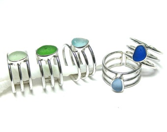 Adjustable Sea Glass Ring   Sterling Silver & Authentic Sea Glass Ring   Sterling Silver Ring   Sea Glass Ring   Sea Glass  Adjustable Ring