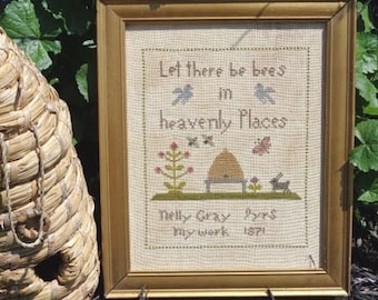 Primitive Cross Stitch Sampler Pattern Let There Be Bees PDF