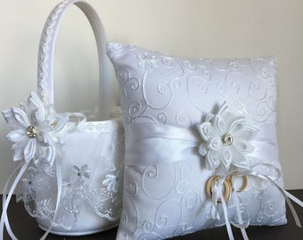 Flower girl basket,wedding basket,ring pillow,white basket,petals basket,wedding flower basket,flower basket,kanzashi,basket for flowers.