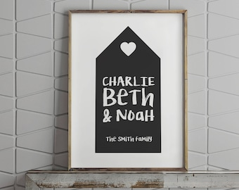 Personalised family home print // family gift for new parents // custom colours // family names // new home gift // gift for parents