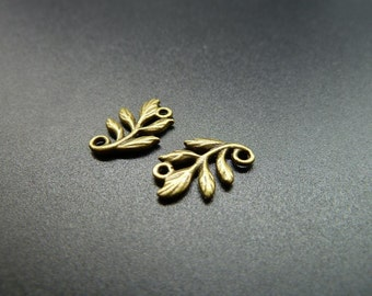 50pcs 10x15mm Antique Bronze  Branch Leaf Connector Link Charm Pendant c3531